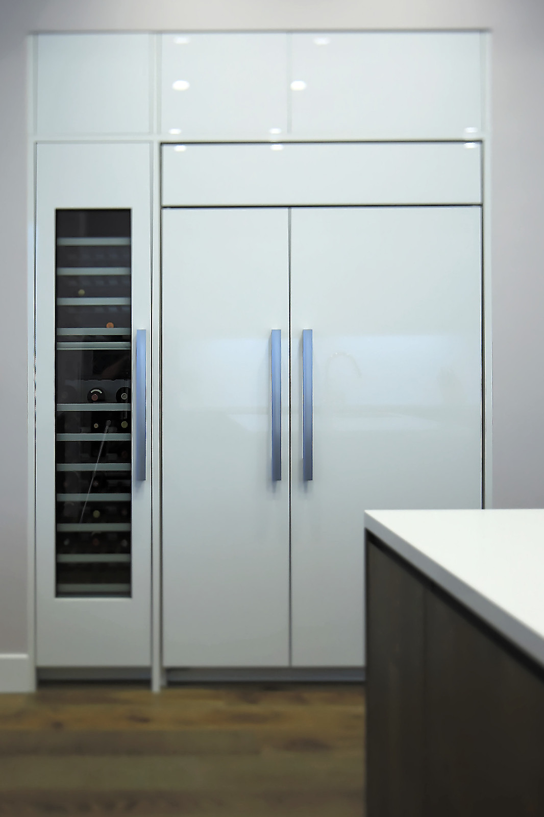 This Sub-Zero fridge installation is a great example of how built-in units can be made flush with other cabinetry. It features a full-height wine fridge with multiple zones.