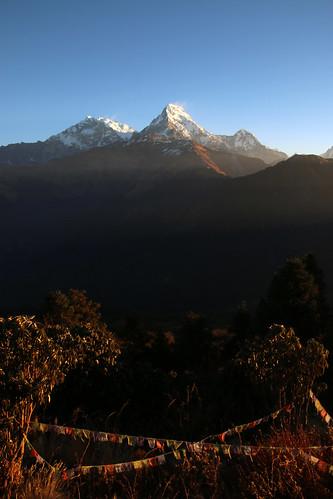 nepal sunrise buddhism tibetan prayerflags himalayas annapurnasouth annapurnarange
