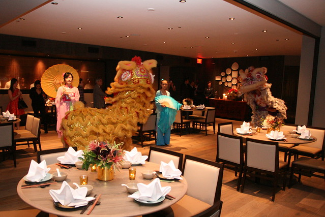 Lion dance for Crystal Jade opening - they came upstairs to the dining hall