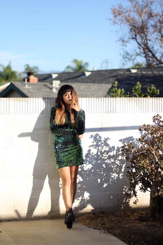 Motel Rocks Gabby Sequin Dress, YRU Zooshoo shoes