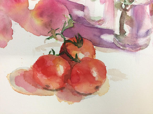 Watercolour painting of Tomatoes by Ako Lamble