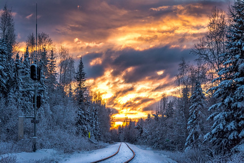 railroad winter sunset snow alaska clouds nikon alaskarailroad d7100