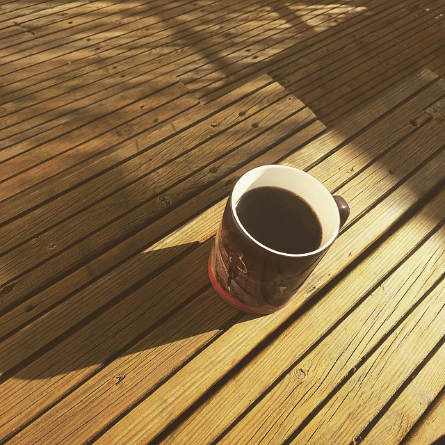 Estate agent taking pics of my current flat = best excuse to sit outside on the terrace with coffee!