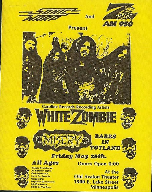 05/26/89 White Zombie/ Misery/ Babes In Toyland @ Avalon Theater, Minneapolis, MN (Flyer)