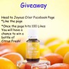 Head to Joyous Oiler Facebook page like and share for a chance to win a Citrus Fresh Essential Oil bottle!
