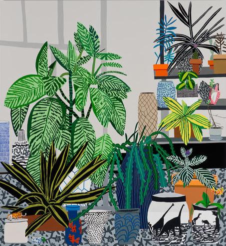 Jonas Wood, Dinosaur Pots Still Life, 2014