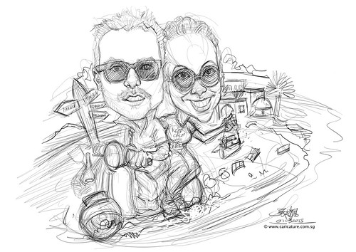digital wedding couple caricatures on Vespa Save the date