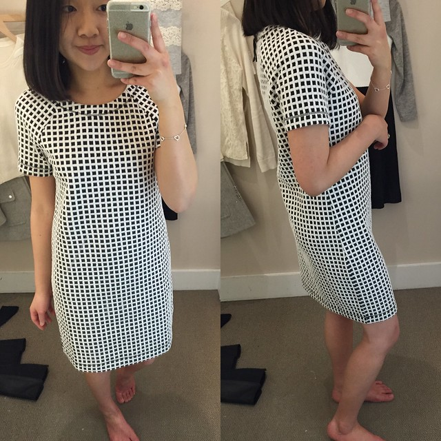 Lou & Grey Mini Windowpane Tee Dress, size XS