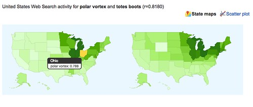 Google correlate map for polar vortex vs totes boots pearson correlation coefficient by US state