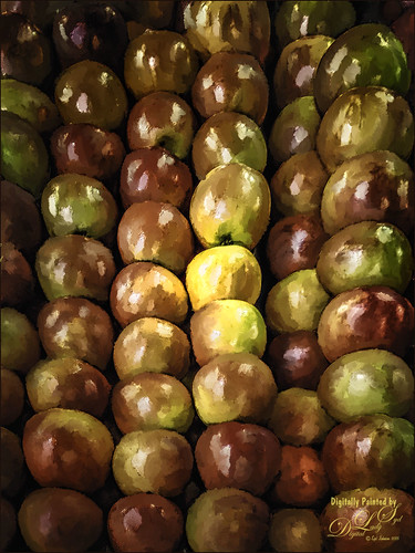 Image of painted apples in a bin