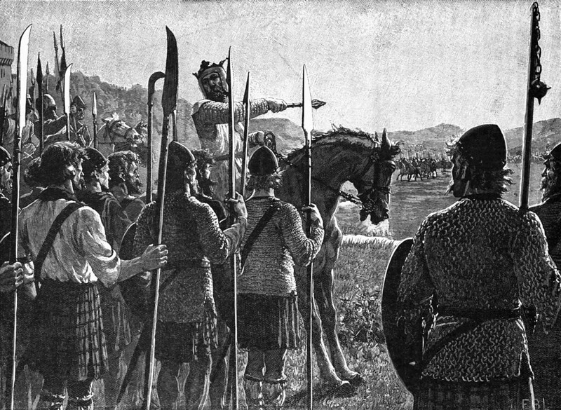 Bruce Reviewing His Troops Before the Battle of Bannockburn by Edmund Leighton