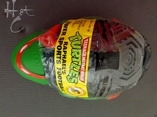 TEENAGE MUTANT NINJA TURTLES :: RAPHAEL'S SEWER SPORTS FOOTBALL / ..original label & wrapping C (( 1992 ))  [[ Courtesy of Hot Collector Network ]]