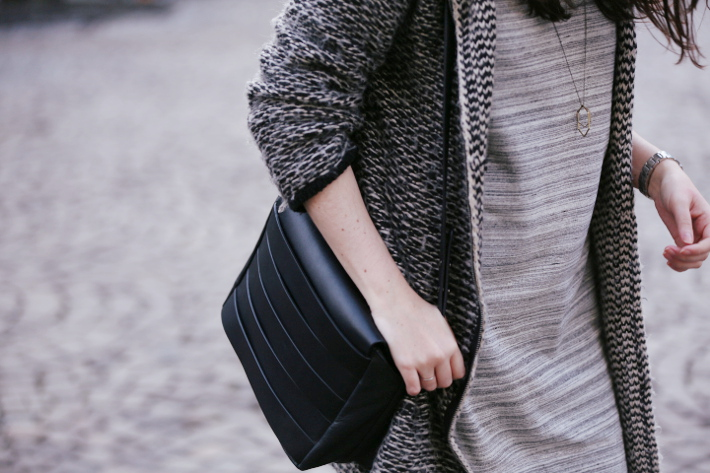 outfit: mango sweaterdress, and other stories handbag