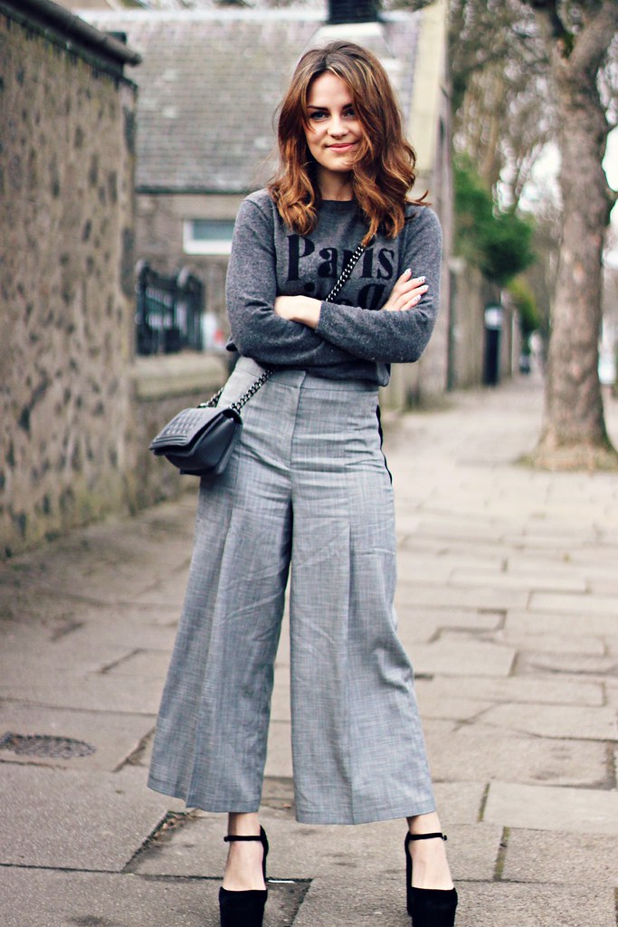 Topshop wide leg grey flare trousers 2