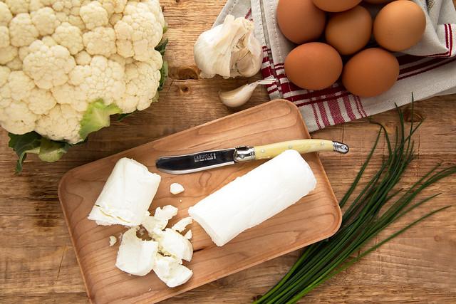 goat cheese, cauliflower, eggs, and garlic