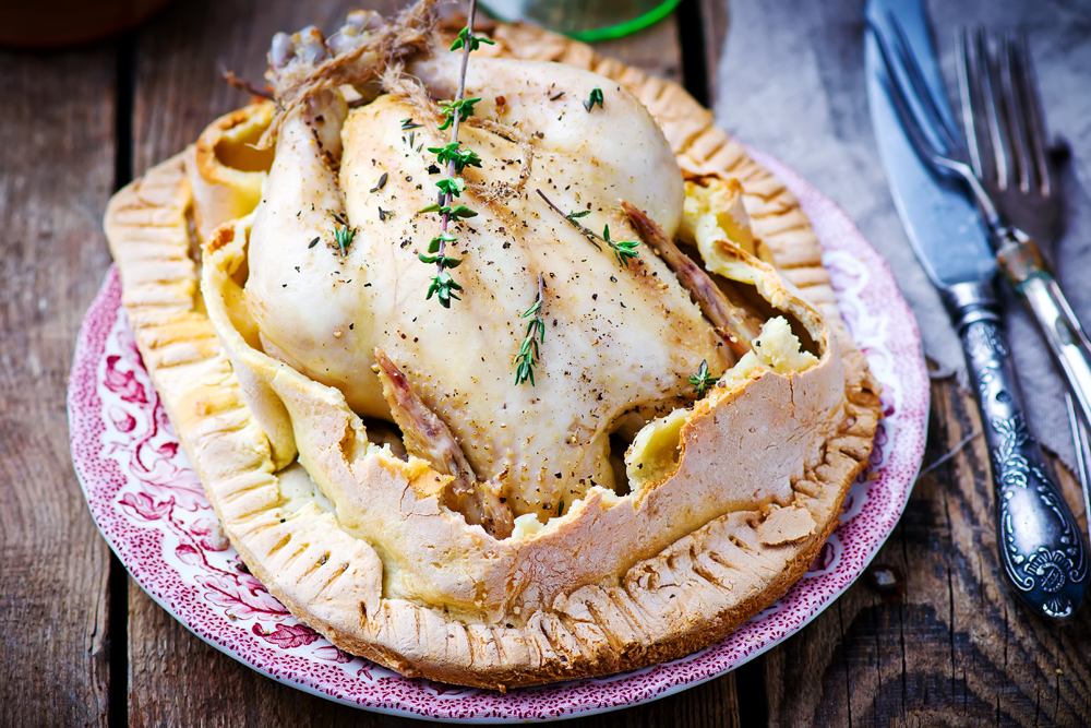 the chicken baked in pastry with herbs.