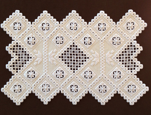Finished hardanger doily