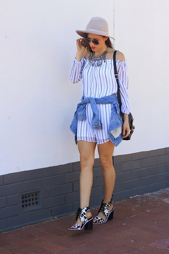 Hat, striped dress and jacket