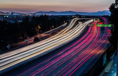 california city bridge winter sunset urban motion color night oakland march nikon highway ramp traffic infinity over baybridge bayarea 24 eastbay 80 alamedacounty interchange d800 mosswood 580 2015 lightstream 980 boury pbo31 easternspan