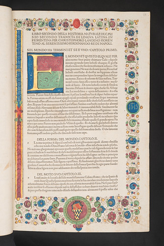 Illuminated and decorated page with coat of arms in Plinius Secundus, Gaius (Pliny, the Elder): Historia naturalis [Italian].