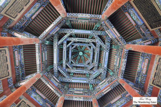 Looking up the ceiling of Spacious Pavilion (Kuoru Ting) Summer Palace, Beijing, China