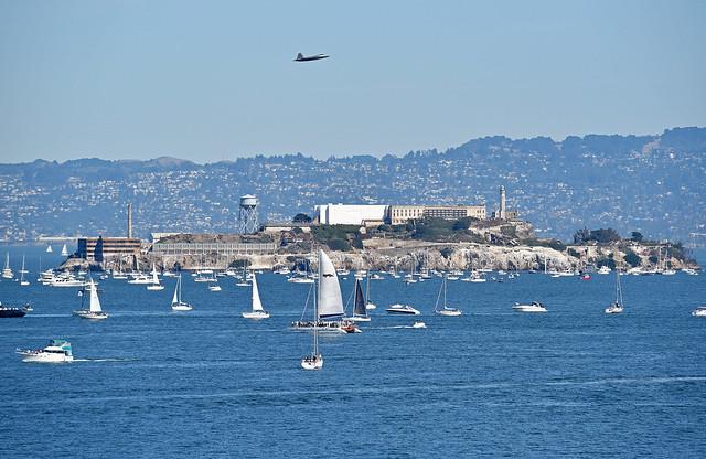F-22 Raptor over Alcatraz Island and San Francisco Bay, Fleet Week 2016
