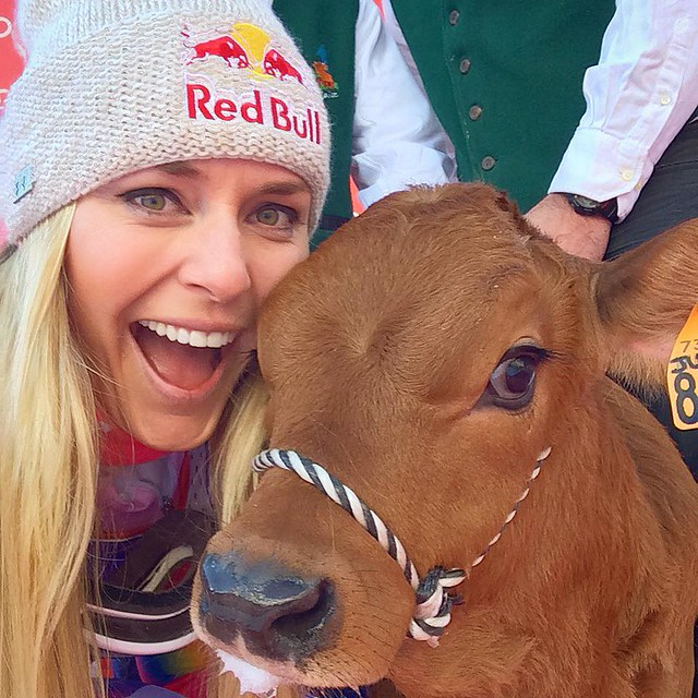 Lindsey Vonn and Winnie at Val d'sere