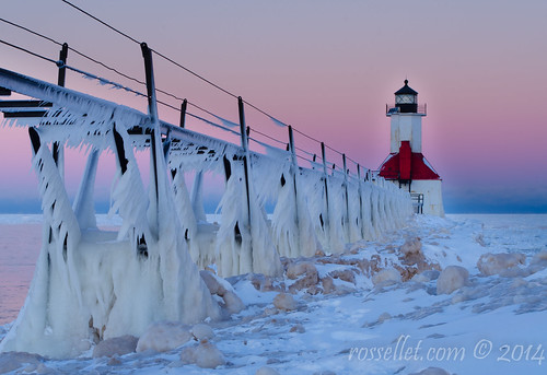 morning winter light lighthouse snow cold ice michigan stjoseph lakemichigan boardwalk freezingspray