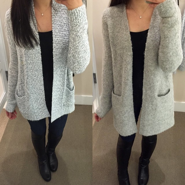 LEFT: Lou & Grey Melange cardigan RIGHT: Lou & Grey Longline sweater jacket (both size XS)