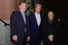 U.S. Secretary of State John Kerry stands with Canadian Foreign Minister John Baird, left, and Mexican Foreign Minister José Antonio Meade outside his home in Boston, Massachusetts, on January 30, 2015, before welcoming them inside for an informal working dinner focused on trilateral issues. [State Department photo/ Public Domain]