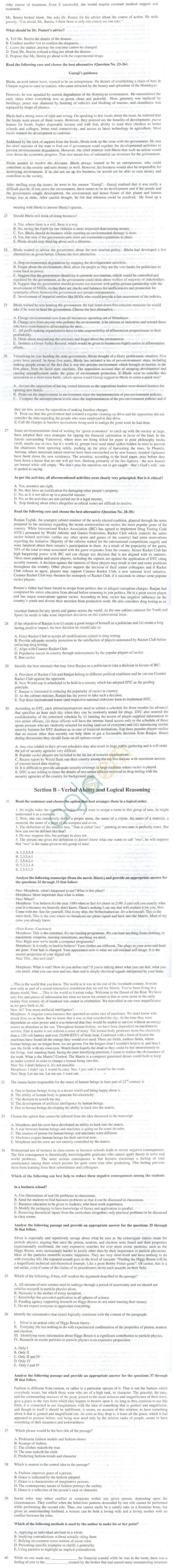 XAT 2010 Question Paper with Solutions