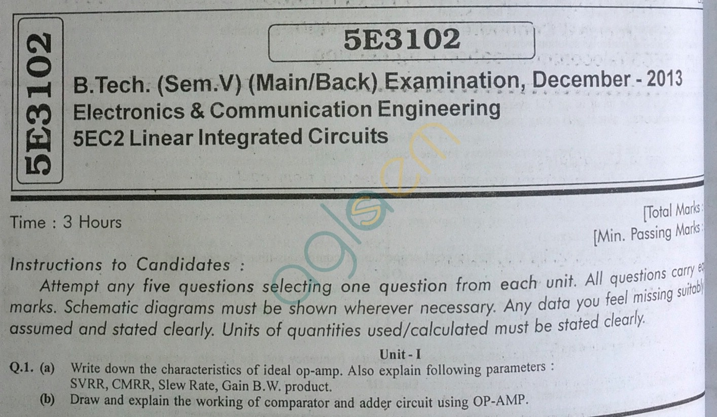 RTU: Question Papers 2013 - 5 Semester - EC - 5E3102