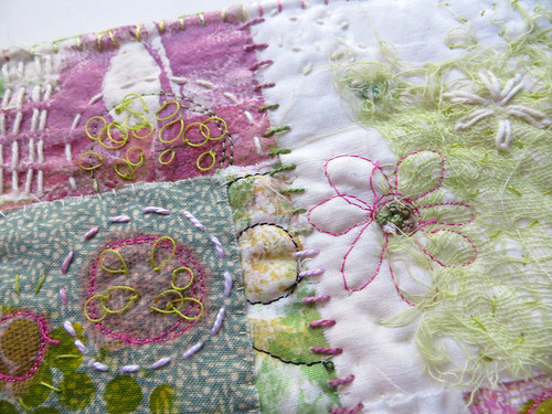 Flowers and Feathers and Everything Nice ~ detail ~ art quilt