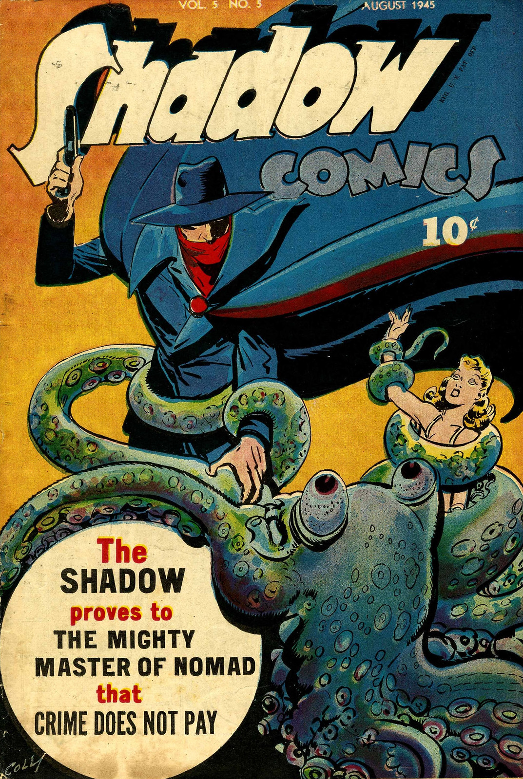 Shadow Comics v5 #5 (Street & Smith Pub., 1945) Charles Coll Cover