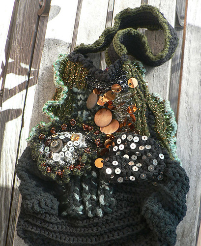 Ecletic Earthy Chunky hand-knitted bag