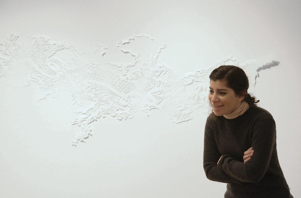 Frances Gallardo Varela (M.F.A. '16), presenting her work  in the Tjaden Gallery.