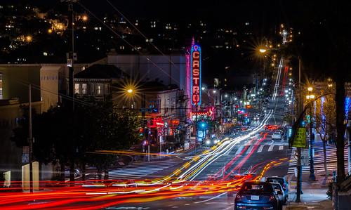 sanfrancisco california city urban motion black color sign night dark nikon theater neon view traffic infinity over january castro marketstreet d800 castrodistrict 2015 lightstream