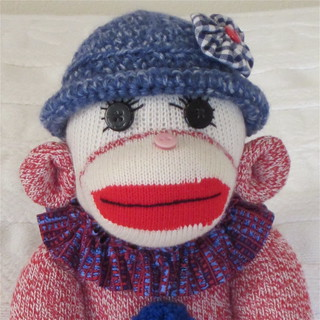 Sock Monkey Doll - Girl Sock Monkey