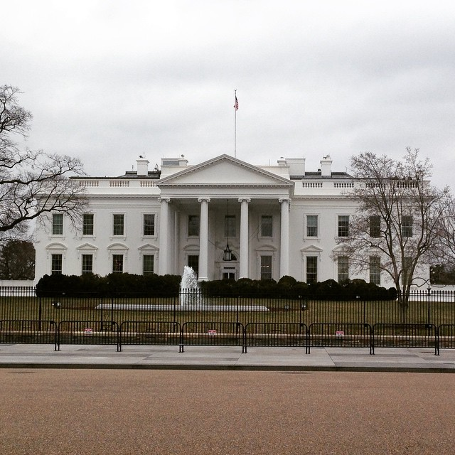 White House security was in no-joke stay-on-the-sidewalk mode this afternoon. Didn't get to see the Prez.