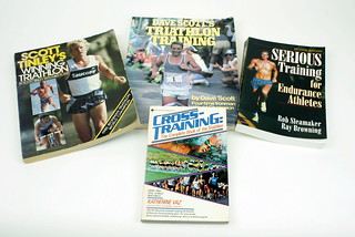 Sun, 01/18/2015 - 19:05 - Among the first few books that offered ideas on how to train for triathlon (if not understand what it was all about) were these from Katherine Vaz (1984), Dave Scott (1986), Rob Sleamaker and Ray Browning (1989), and Scott Tinley (1986). While each represented both a personal and scientific approach to the sport, they also suggested differences in philosophy.
