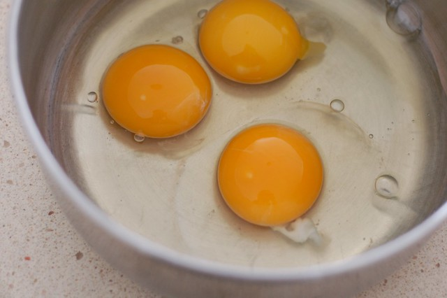 3 eggs for the popover batter by Eve Fox, the Garden of Eating, copyright 2015
