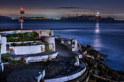 sanfrancisco california winter lighthouse color reflection night marina dark bay nikon ruin wave organ alcatraz february d800 yachtclub 2015