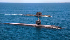 USS Albuquerque (SSN 706) and Royal Australian Navy Collins-class submarine HMAS Rankin (SSG 78) operate together in waters off Rottnest Island, Western Australia, March 4. (Royal Australian Navy photo)