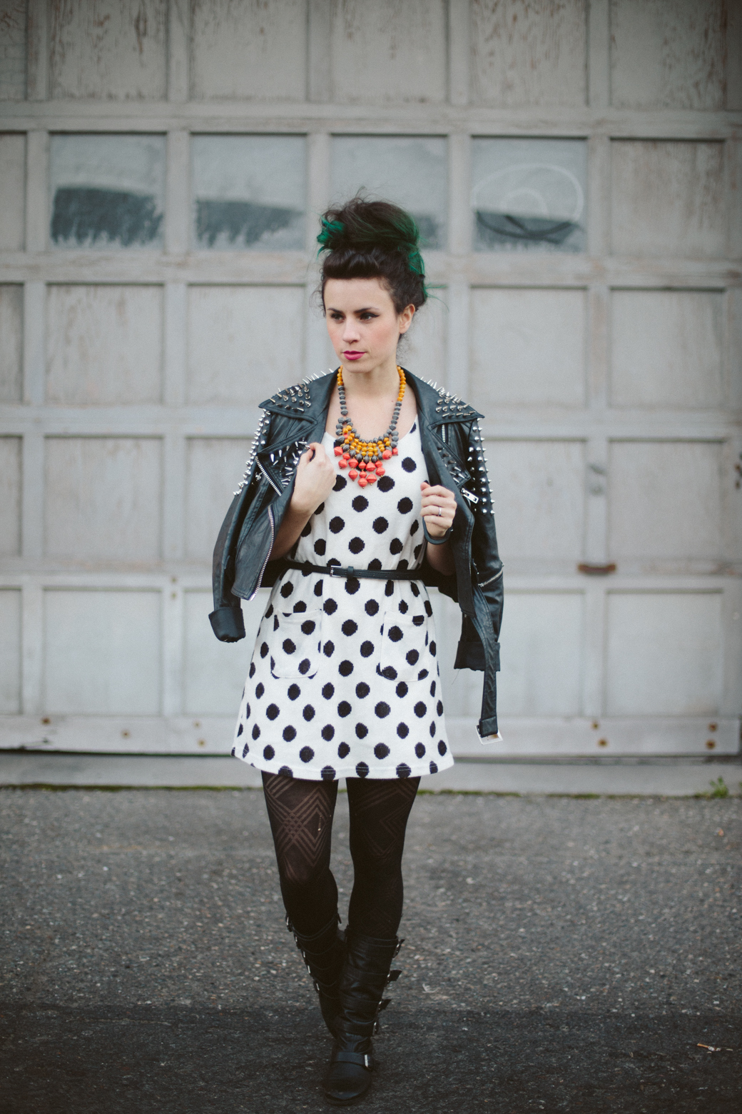 polka dot dress, studded jacket
