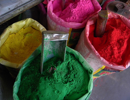 Color Powders at Holi, the Festival of Colours, in Jaipur, India