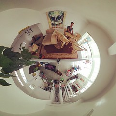 365 in 360, Day 60: I thought I'd worked from every corner of the #cowork space, but this was my first day working up in the loft. Great view and felt like a living room, though it does get toasty. #remotework #remotepuffin #theta360 #photosphere #remotey