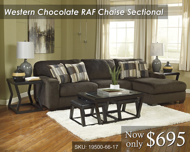 19500-66-17-T592 Western Chocolate RAF Chaise Sectional - PRICED