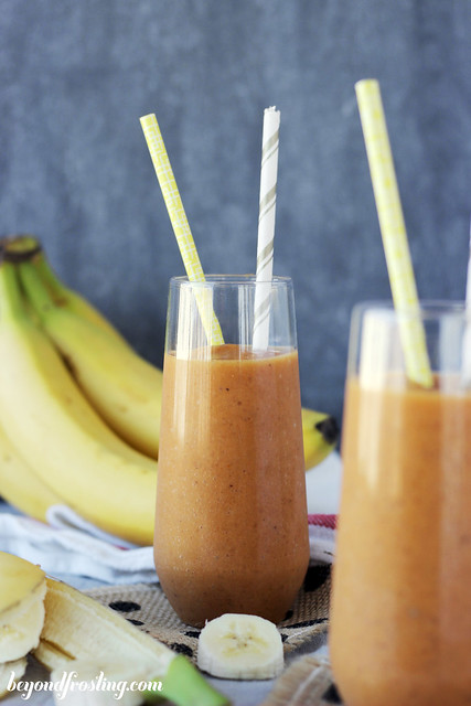 Healthy Breakfast blended Pumpkin Banana Smoothie