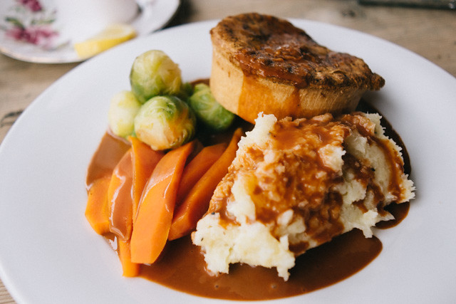 turkey pie, potato and parsnip mash, carrots and sprouts