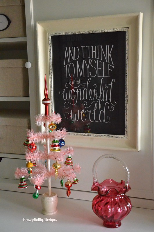 Pink Feather Tree/Vintage Cranberry Glass-Housepitality Designs
